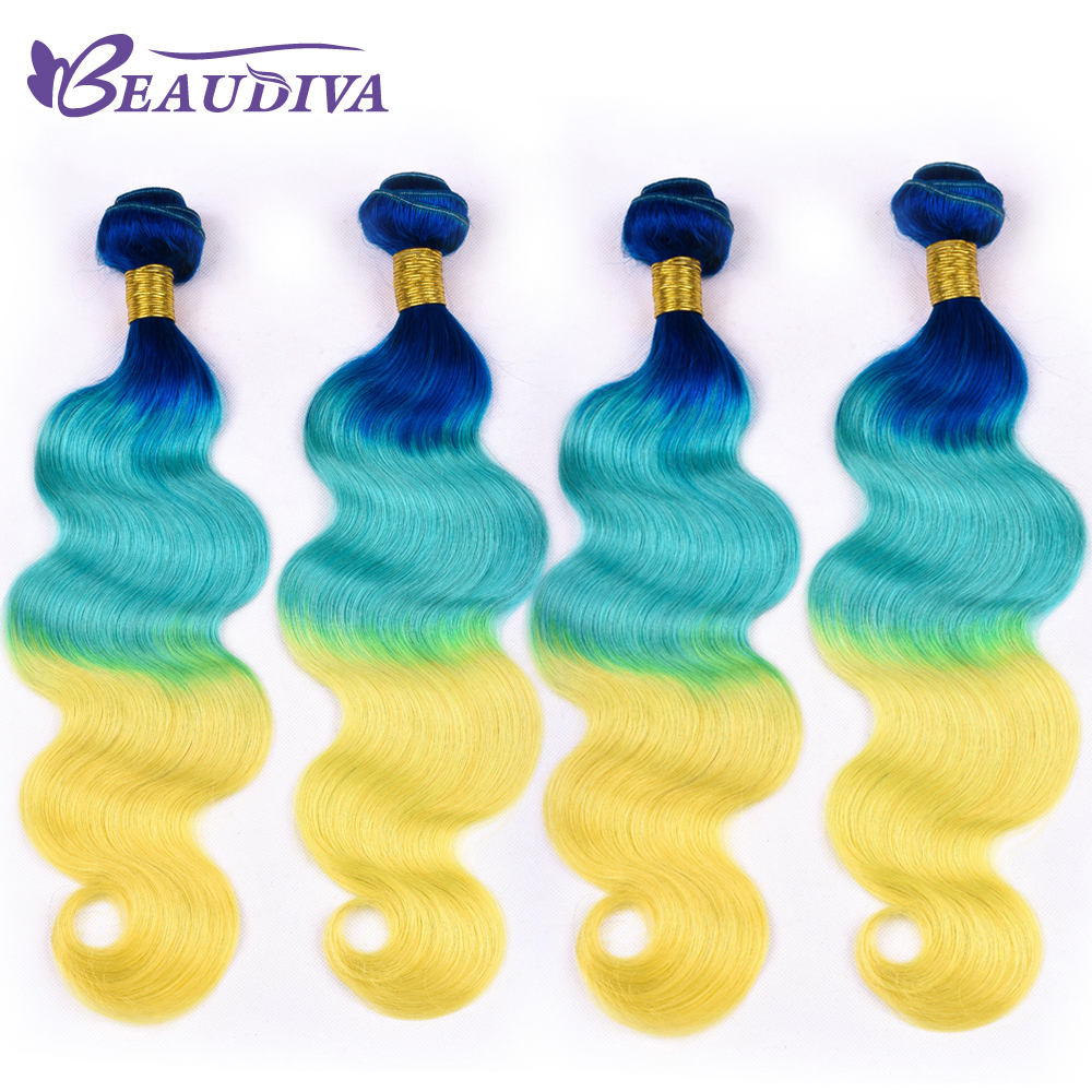 Malaysian Body Wave 4 Bundles Deal Blue/Sky/Yellow 100% Human Hair Malaysian Hair Weave Bundles 16-26inch Remy Hair Extension