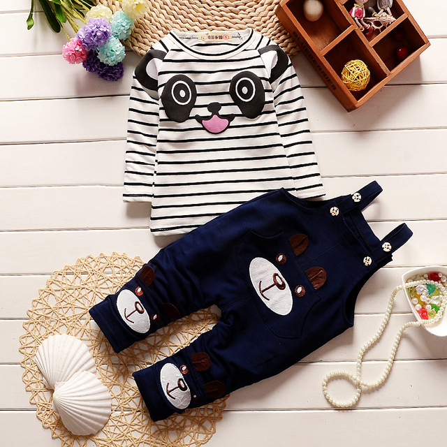 2016 New Cotton Autumn And Winter Children Baby Clothing Set Infant Boys Print Bear Suits Shirt+Pants Sets For Roupas De Bebe