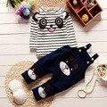 2016 Nuevo Algodón de Otoño E Invierno de Los Niños Del Bebé Que Arropan el sistema Los bebés Varones de Impresión Oso Trajes Shirt + Pants Juegos De Roupas de Bebe