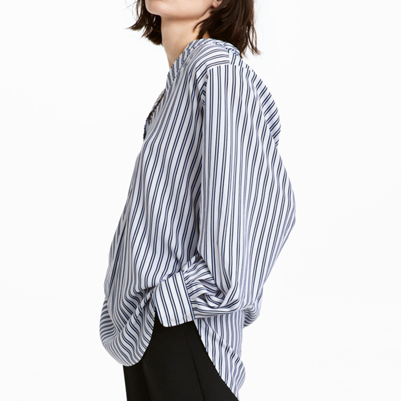2018 Polyester Streetwear Twill Full Limited Plus Size Shein Korean Blusas Y Spring New Pattern Small Stand Stripe Sleeve Shirt