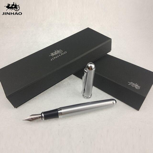 1pc/lot Jinhao Fountain Pen X750 Full Silver Pen 18KGP Caneta Jinhao Pens  School Supplies
