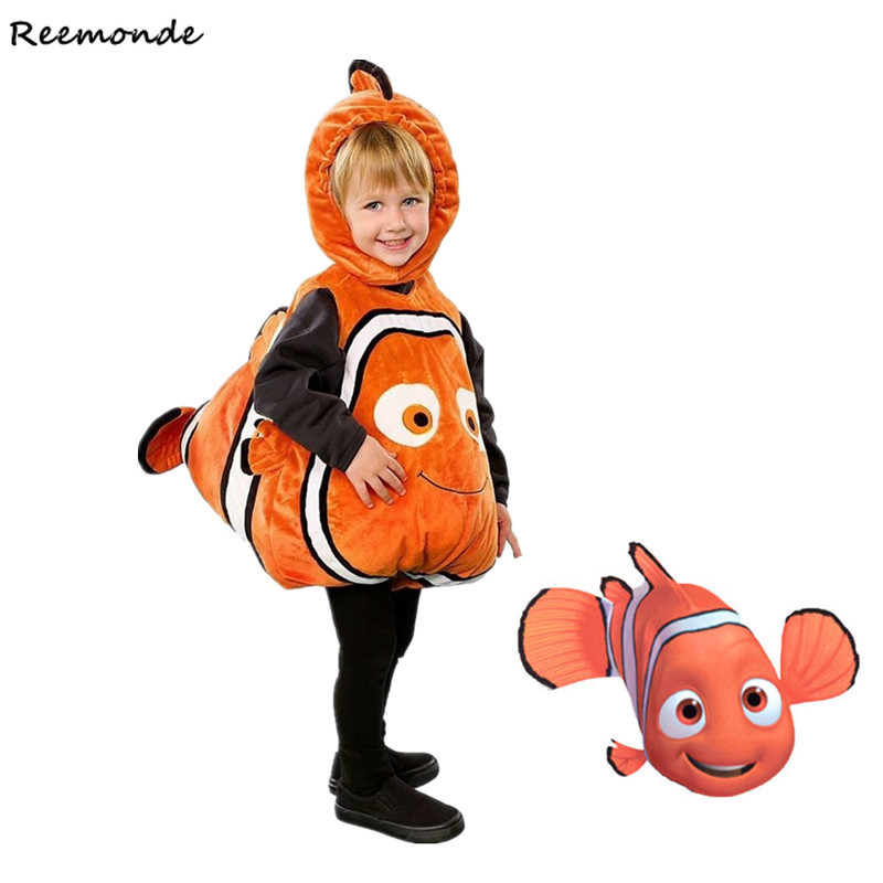 Anime Finding Nemo Cosplay Costumes Nemo Clown Fish Bodysuits Hoodies For Baby Kids Girls Boys Halloween Christmas Party Clothes
