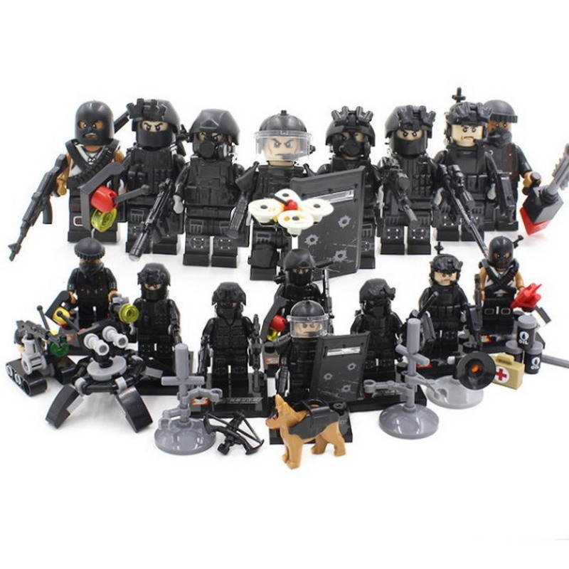 8Pcs/Sets City SWAT Police Weapon Guns Military Army Soldiers Model Building Blocks Figure Toys For Children Compatible Legoe military city police swat team army soldiers with weapons ww2 building blocks toys for children gift