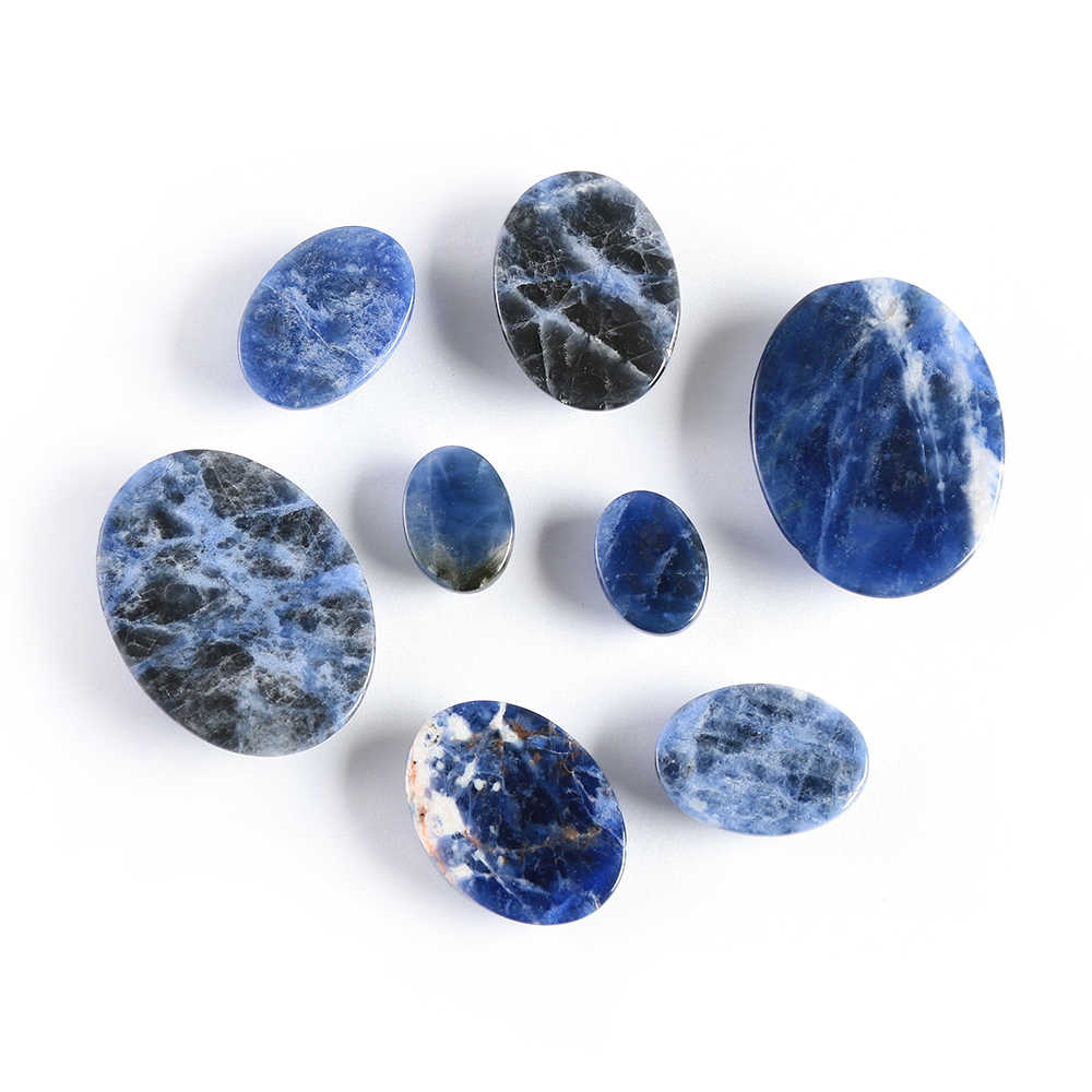 2019 New Natural Stone 1Pcs Sodalite Cabochon Beads Oval Semi-precious Stones Fit Handmade Jewelry For Women Men Gifts