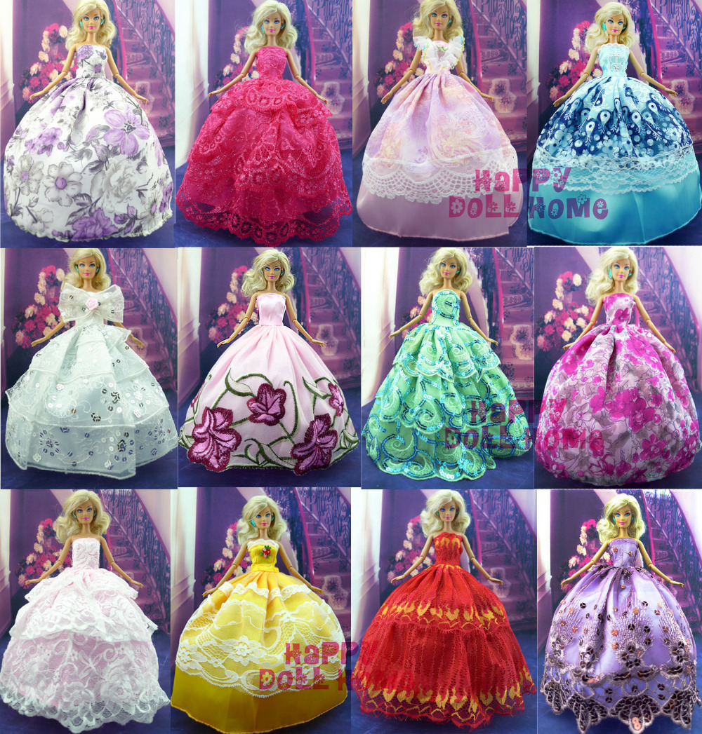 30 Items =10 Handmade  Princess Wedding Dress+10 Shoes+10 Pink Hangers Party Doll's Dress Clothes Gown For Barbie Doll