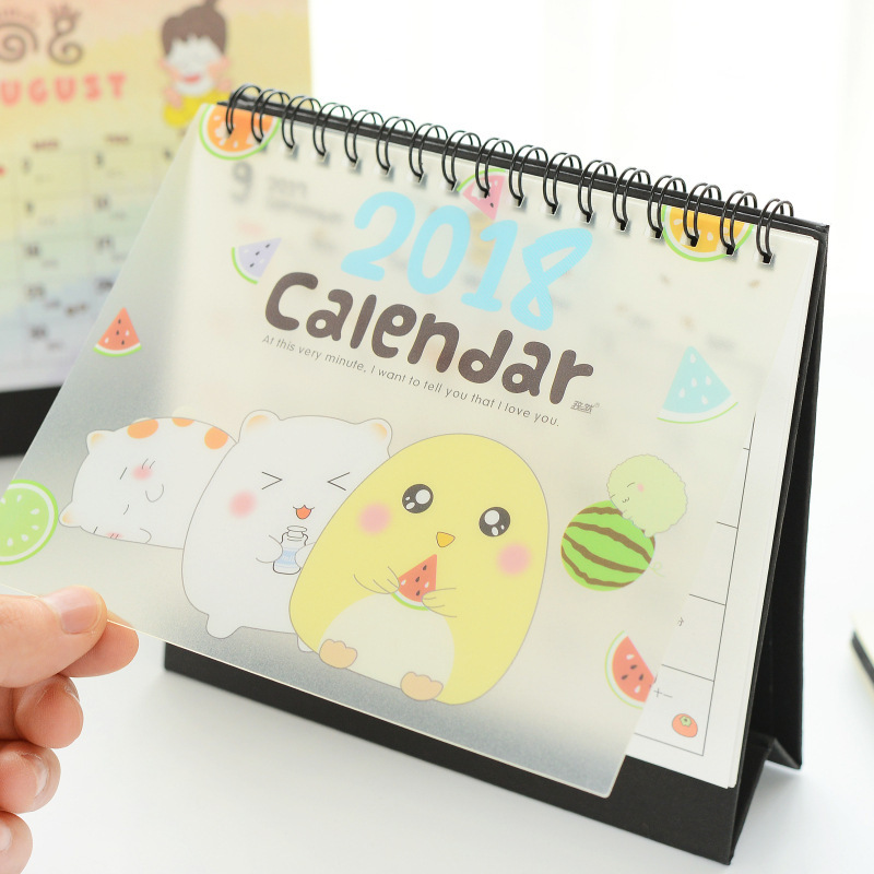 2018 cute lovely Table Calendar DIY Daily Agenda 2017 Daily Memo Pad School and Office Supplies Gifts Calender color random