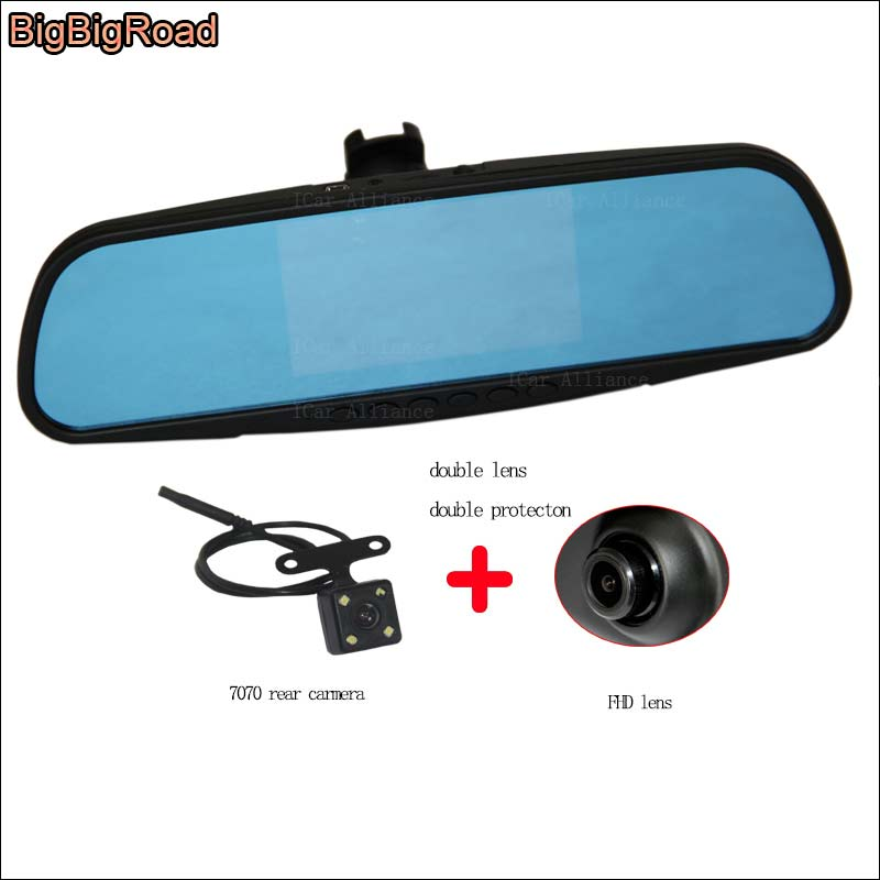 BigBigRoad For honda accord Dual Lens Car DVR video registrator Blue Screen Rear view mirror Dash Cam with Special Bracket gas gb2104 gas