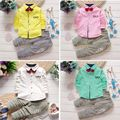 2pcs/Set Newborn Toddler Kids Baby Boy Clothes Cute Tie T-shirt Long Sleeve Gentleman Tops + Long Pants 4 Colors Outfits Sets 21