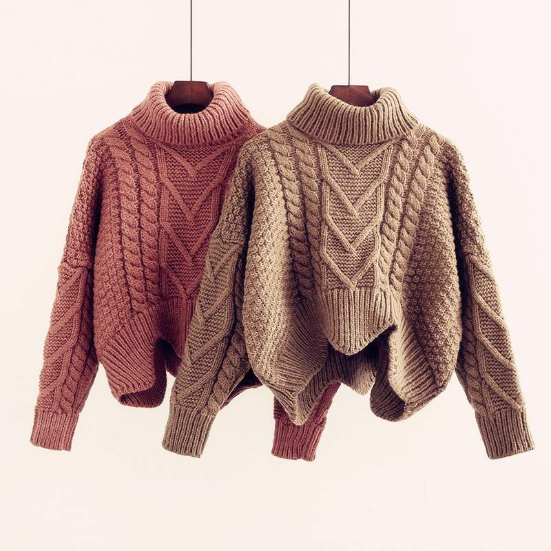 Thickened Sweater Women's Autumn Winter Korean Style Loose Twist Knitted Short Design Pullover Turtleneck Black Brown Female