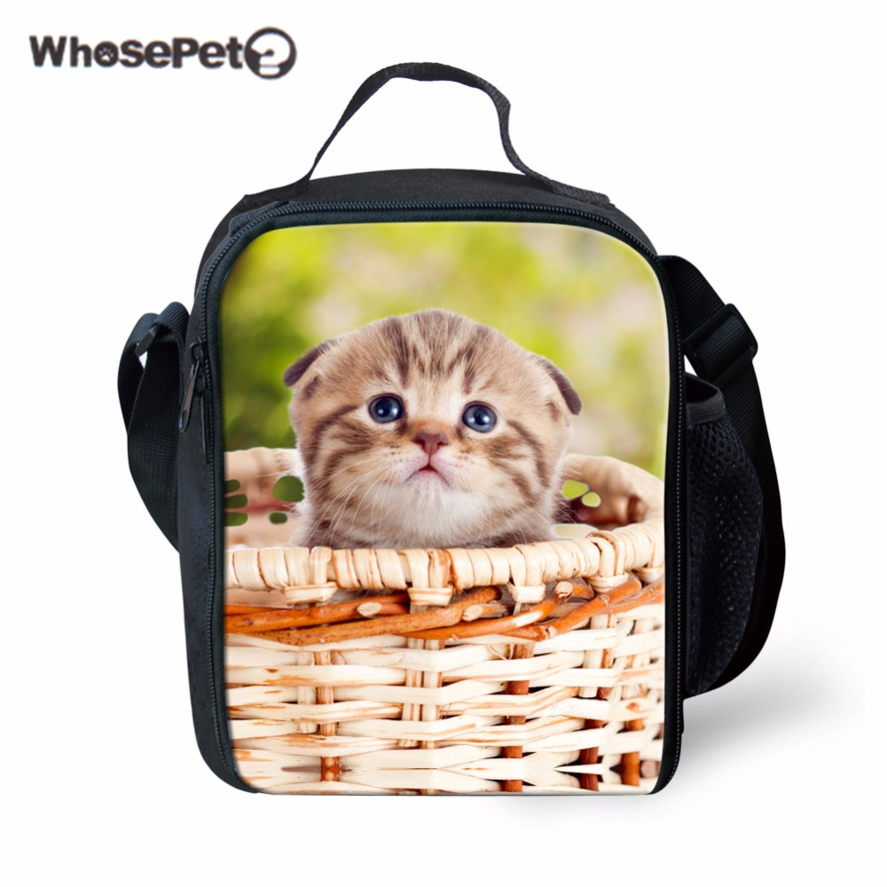 WHOSEPET Lunch Bags Portable Insulated for Kids Thermal Bags Tote Girls Spring Tour Picnic Bags 3D Lovely Little Cat Printing