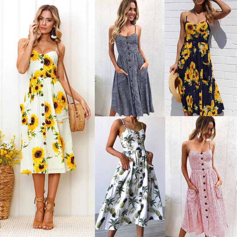 2018 New Women Summer Dress Fashion Floral Midi Dress Sleeveless Party Beach Dress Ladies Sundres