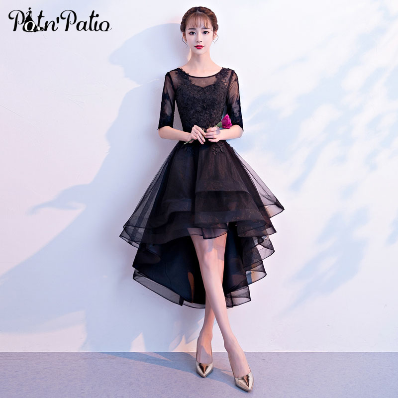 Elegant High Low Tulle   Evening     Dresses   Half-Sleeve Sexy See Through Applique Lace Up Black Formal   Dress   Special Occasion   Dresses