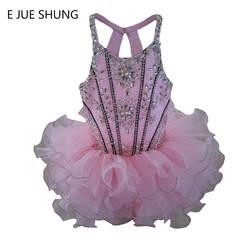 E Jue Шунг розовый органза выше колена/мини-полный бисером Кекс цветок платья для девочек пышные платья для девочек Младенческая малышей