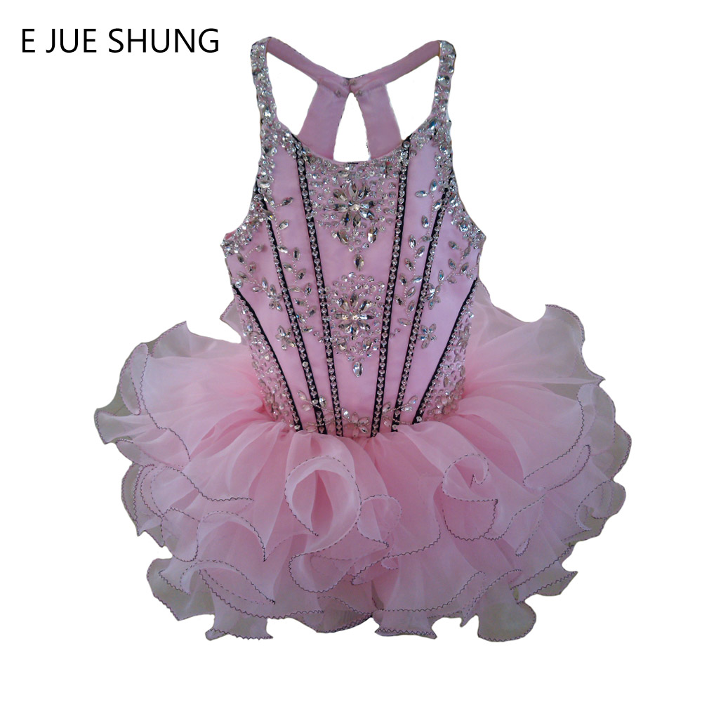 E JUE SHUNG Pink Organza above knee/mini full beading cupcake   flower     girl     dresses   pageant   Girl     Dresses   infant toddler   dresses