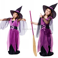 Kids Cheap New Girls Witch Magician Costume Cosplay Fantasia Disfraces game uniforms Children's Halloween Costumes,Free Shipping