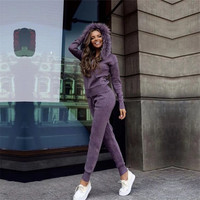 Tapakva зима толстый кашемировый костюм Женская мода натуральный мех воротник кардиган с капюшоном + брюки трикотажные комплект из 2 предмето