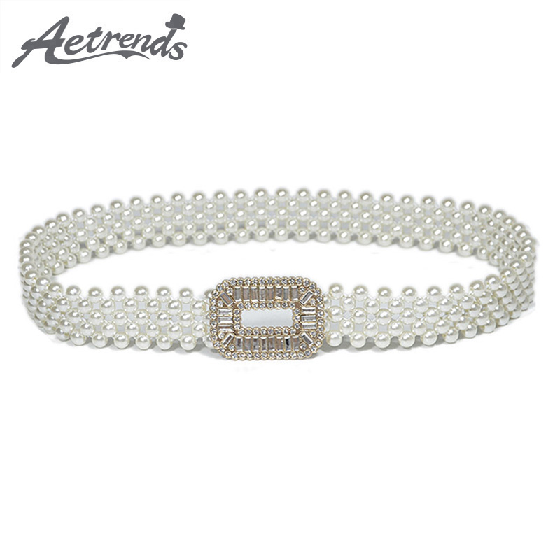 [AETRENDS] Women's Fashion Pearl Metal Waist Chain Cinch Belt Girdle Decoration Belts For Women Waistband Cummerbunds D-0051