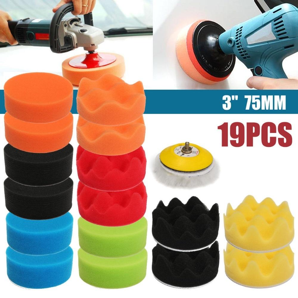 цена на 17Pcs 80mm High Gross Polishing For Buff Pad Kit For Car Polisher 3inch Polishing Pads
