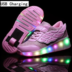 Image 5 - Children One Two Wheels Luminous Glowing Sneakers Gold Pink Led Light Roller Skate Shoes Kids Led Shoes Boys Girls USB Charging