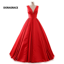 robe de soiree Glamorous V Neck Lace-Up Floor-Length A Line Prom Dress Long Evening Dresses DGE028