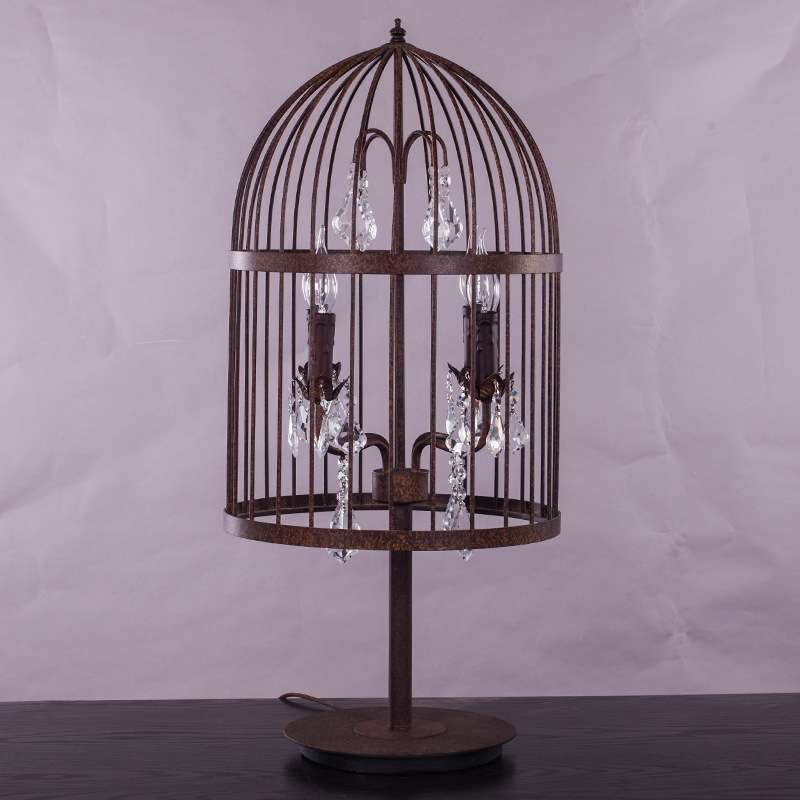Retro Antique Large French Empire Style Crystal Rust Wrought Iron Cage Crystal  Table Lamp Restoration Hardware Desk Lighting E14 In Table Lamps From Lights  ...