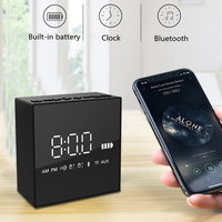 Wireless electronic led alarm clock bluetooth speaker Portable mirror digital clock with subwoofer built in battery table clock