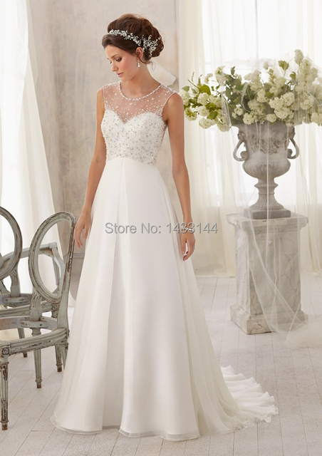 Bling Illusion Neckline Wedding Dresses Sheer Back Beading A Line Long Chiffon Scoop Bridal Gowns