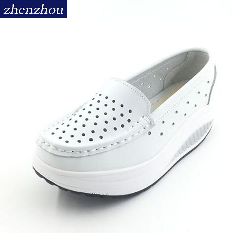 New 2017 Summer genuine leather cutout breathable swing shoes white nurse shoes wedges heighten shoes mother shoes sandals beyarne white nurse shoes sandals leather wedges cow muscle outsole women summer maternity shoes sandals mother shoes size 33 41