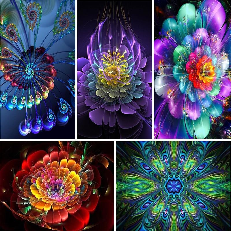 Diamond Painting Cross Stitch Full 5d Feathers Flowers