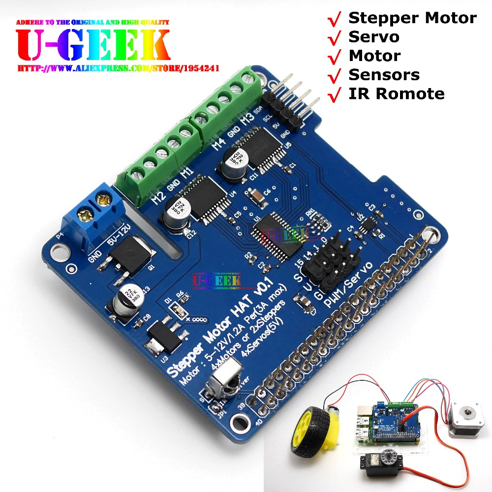 DIY Your Robot! UGEEK Stepper Motor HAT for Raspberry Pi 3 Model B,2B,A+, B+,Zero Stepper Motor/Servo/Motor/Sensors/IR Romote