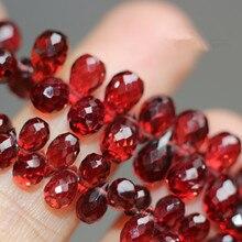 10 штук, бусины, красный гранат, граненые капли, 6-8 мм, для самостоятельного изготовления ювелирных изделий, FPPJ,, бусины, натуральный драгоценный камень
