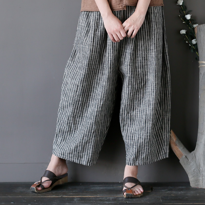 Elastic waist Cotton Linen Striped Harem   Pants   Women Loose Causal Calf length   Pants     Capris   Stripe Women Harem Trousers A227