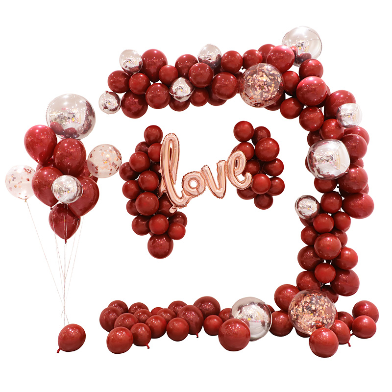 BTRUDI balloon chain ruby red black gold theme color holiday set birthday party wedding decoration