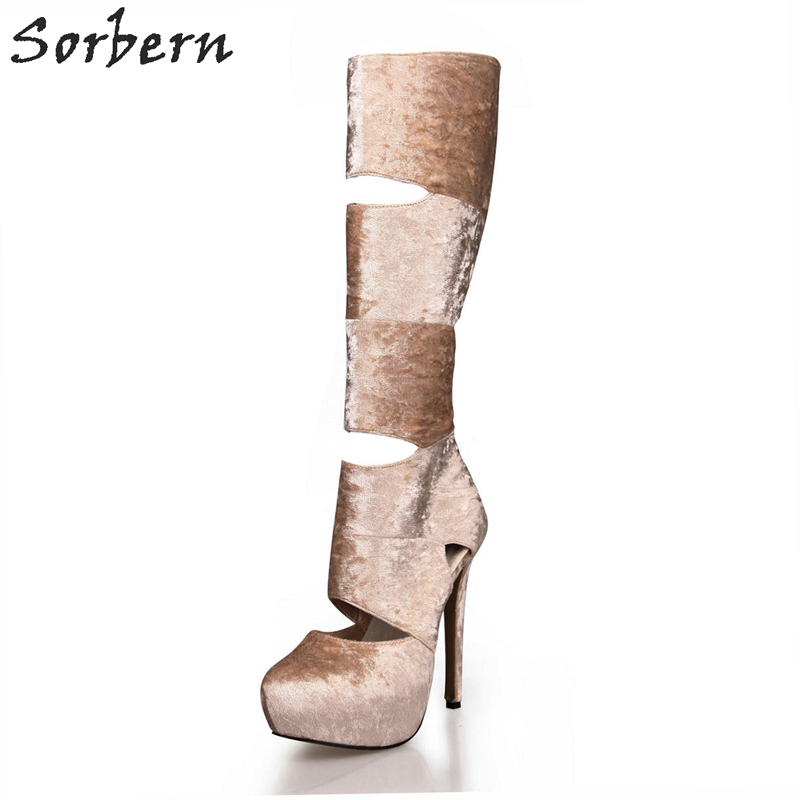 Sorbern Apricot Velvet Cut-Out Women Gladiator Boots Knee High Heels Platform Shoes Women New Spring 2018 Boots Ladies Size 38 meifeier 407 women s fashionable knitted chiffon blouse apricot l