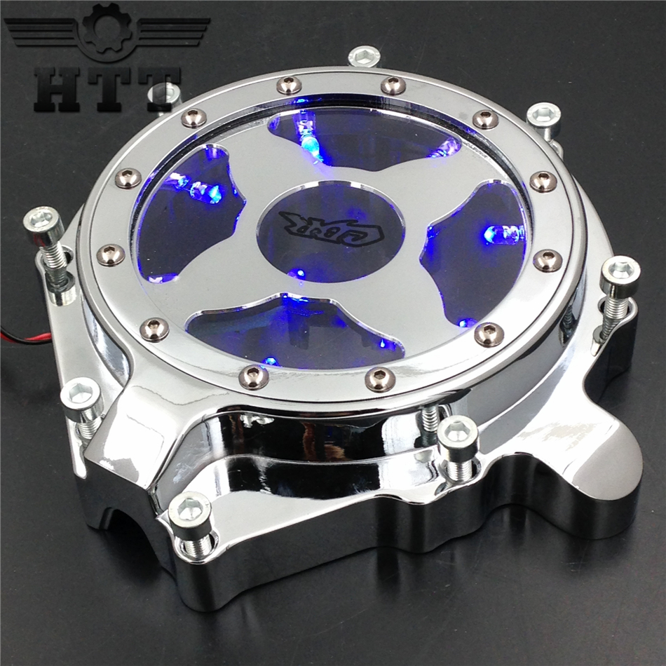 Aftermarket free shipping Motorcycle parts Blue LED Billet Engine Stator cover see through for Honda CBR 1000RR 2004 2005 2006CD free shipping motorcycle parts engine clutch cover see through for kawasaki zx14r zzr1400 2006 2013 black right