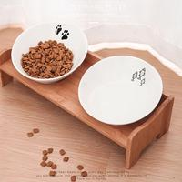 2018 Pet Dog Bowl Cat Bowl Bamboo Wooden Frame Ceramic Two Bowls with Pet Food Table Puppy Pet Cats Dogs Food Water Supplies