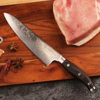 "Sunnecko profesional 8 ""Chef cuchillo bien afilado japonés VG10 hoja de acero de cuchillos de cocina mango de madera de Damasco de corte cortador de carne"