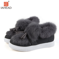 IAHEAD Shoes Women Winter Warm Shoes Snow Boots Fur Plush Nice Fashion Brand Shoes Flats Solid
