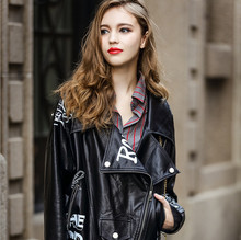 2016 autumn new models in Europe and America loose graffiti letters black lapel thin section PU leather motorcycle jacket
