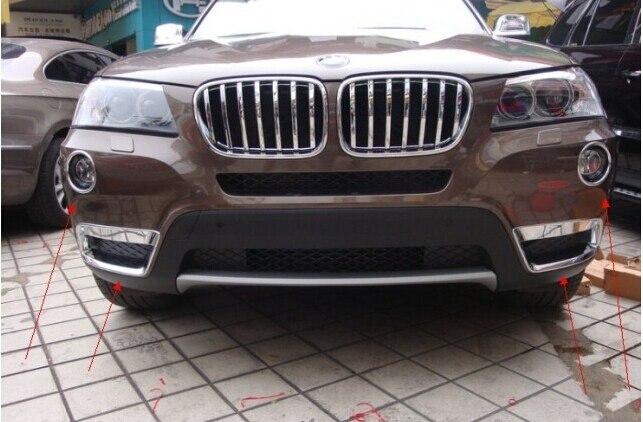 Chrome inferiore e superiore anteriore fendinebbia coperchio della lampada trim 4 pz per bmw x3 f25 2011 2012 2013Chrome inferiore e superiore anteriore fendinebbia coperchio della lampada trim 4 pz per bmw x3 f25 2011 2012 2013