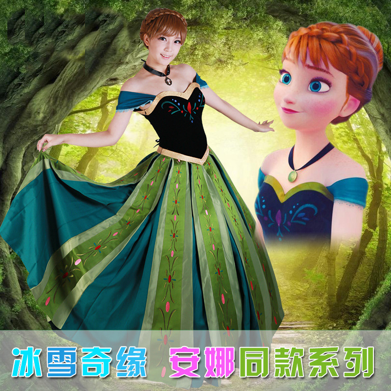 Luxury Adult Princess Anna Costume Women Anna Coronation Dress Cosplay Plus Size halloween costumes for women 2XS-2XL