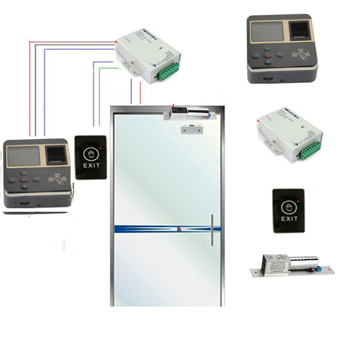 TCP/IP Fingerprint Access Control F211 + Powersupply + Bolt lock + Touch exit Switch / fingerprint access control kit biometric face and fingerprint access controller tcp ip zk multibio700 facial time attendance and door security control system