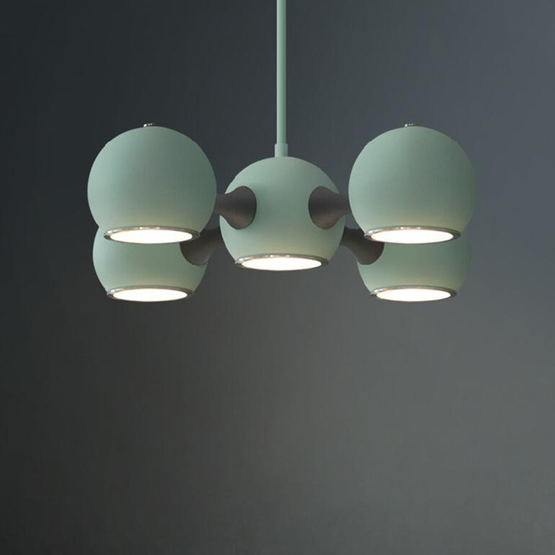 5 Heads Nordic French Bedroom Bar Counter Modern Simple Restaurant American Spacecraft LED Ceiling Lights Free Shipping