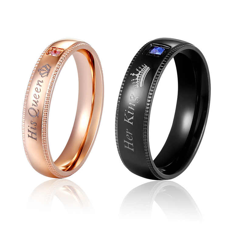 King Queen Rings Stainless Steel Couples Lover's Rings for Men Women Romantic Wedding Engagement Fashion Jewelry