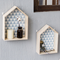 MoeTron Europe Fashion Decorative Wall Shelf House Shape Storage Shelf Wall Key Holder