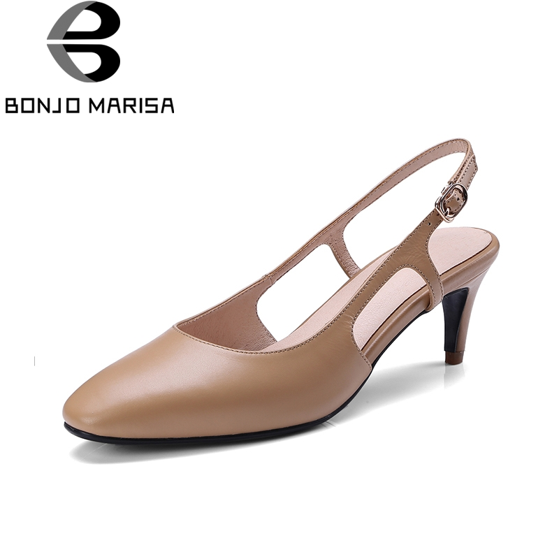 BONJNOMARISA 2018 Cow Leather Brand Pointed Toe Buckle Strap Women Shoes Woman Thin High Heels Woman Sandals Shoes women pointed toe buckle thin high heels red bottom sandals shoes t strap print leather plus size lady sandals 42 51 sxq0710