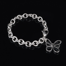 цена на Butterfly Pendant Simple Link Chain Bracelet Bangles For Women Silver Plated Cuff Jewelry Gift Dropshipping