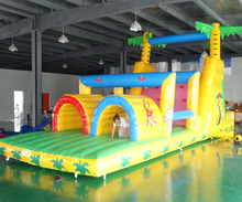Купить с кэшбэком Giant Inflatable Obstacle Course  Super Combo Bounce House with Blower