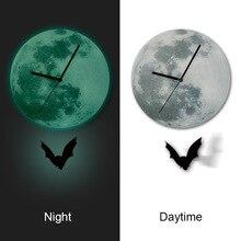 Funlife TM Halloween Decoration Bat Pendulum clock Glowing Moon Wall clock for Home Decor Quartz Silence