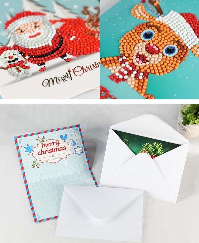 christmas greeting cards diamond mosaic full round 5d